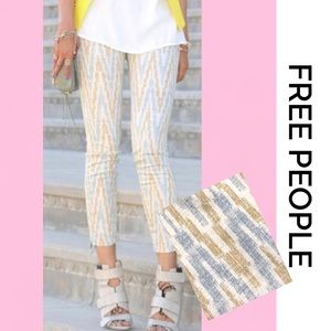 FREE PEOPLE Skinny Blue Gold Pattern Jeans 30